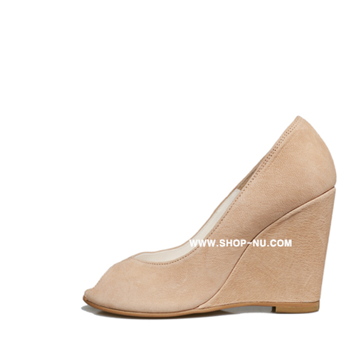 BEIGE LEATHE VINTAGE|OPEN TOE WEDGE9.5