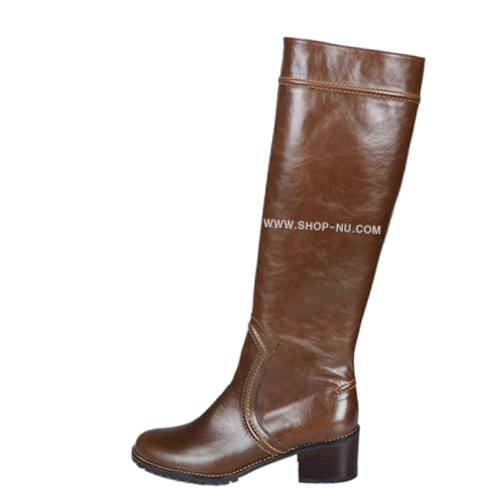 STITCH POINT BROWN LEATHER RIDING BOOTS.5`1