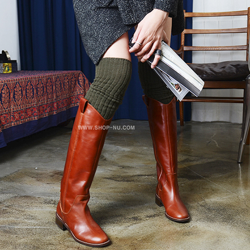 BRICKS BROWN LEATHER PULL ON KNEE BOOTS.3`1