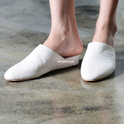 IVORY BUBBLE LEATHER SLIPPERS 3