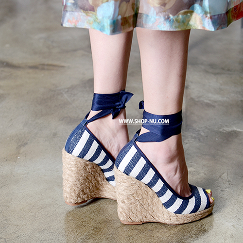 STRIPE FABRIC WEDGE ESPADRILLES 11/2