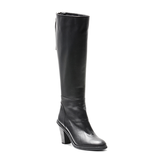 BLACK LEATHER ZIP UP KNEE BOOTS 8'0.9