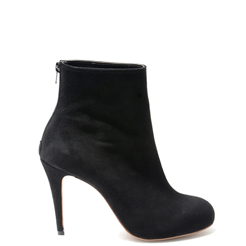 SEAM LINE BLACK SUEDE ANKLE BOOTS 10/1