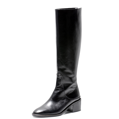 BLACK LEATHER RIDING BOOTS 4.7'0.8