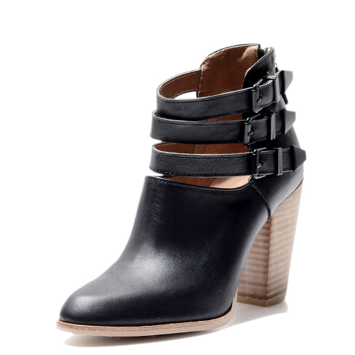 MULTI BELTED BLACK LEATHER BOOTIES 9'0.6