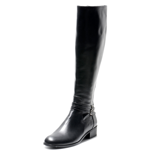 MINI BELTED BLACK LEATHER RIDING BOOTS 3'0.5