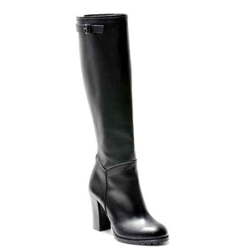 BELTED BLACK LEATHER BLOCK HEEL LONG BOOTS 9'0.9