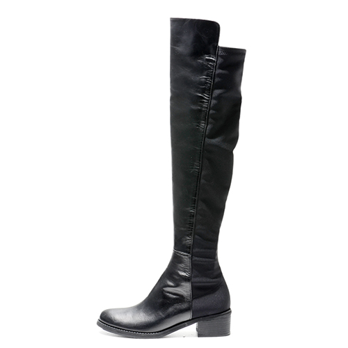 BLACK LEATHER N SPANDEX KNEE HIGH BOOTS 4'0.9