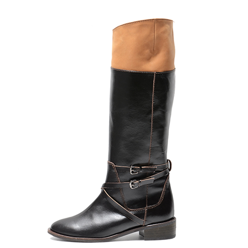 TWO TONE BROWN LEATHER RIDING BOOTS 3'0.7
