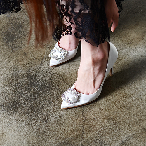 CRYSTAL EMBELLISHED WHITE SATIN PUMPS 10