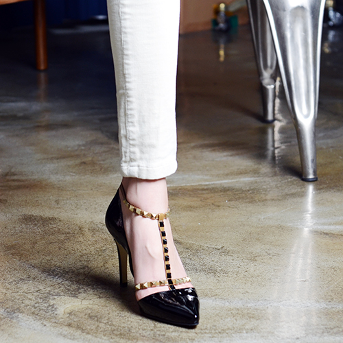 ROCK STUDDED T-BAR PUMPS 9