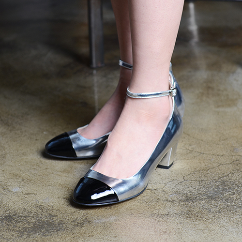 TOE CAP GUNMETAL LEATHER ANKLE STRAP PUMPS 5