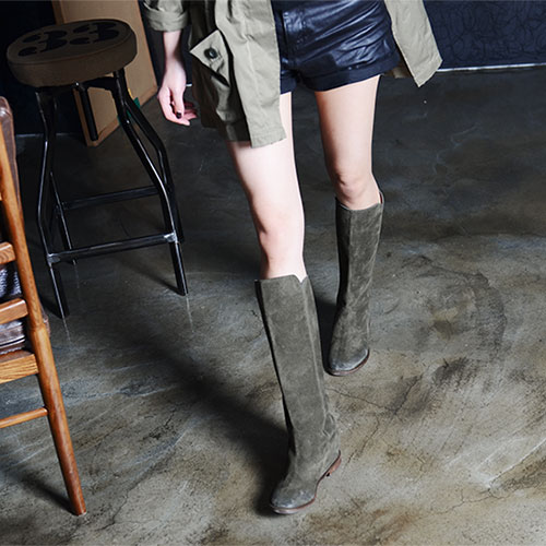 GREEN BRUSHED SUEDE PULL ON KNEE BOOTS 5