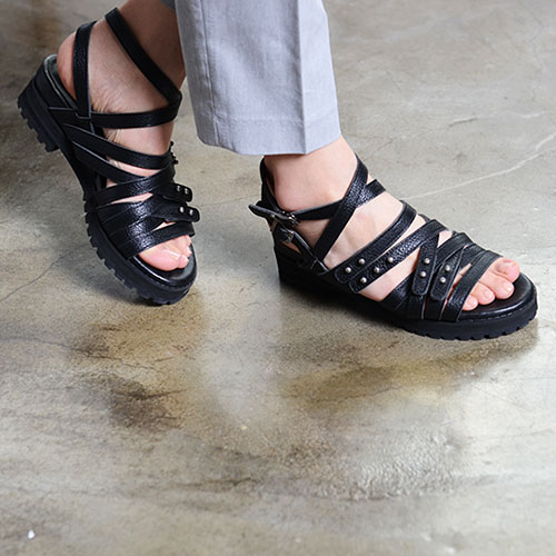 BLACK LEATHER MULTI STRAPPY SANDALS 2.8'1.2