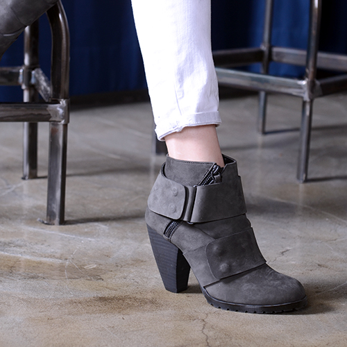 DARK GRAY NUBUCK DOUBLE STRAP ANKLE BOOTS 9.5'0.5