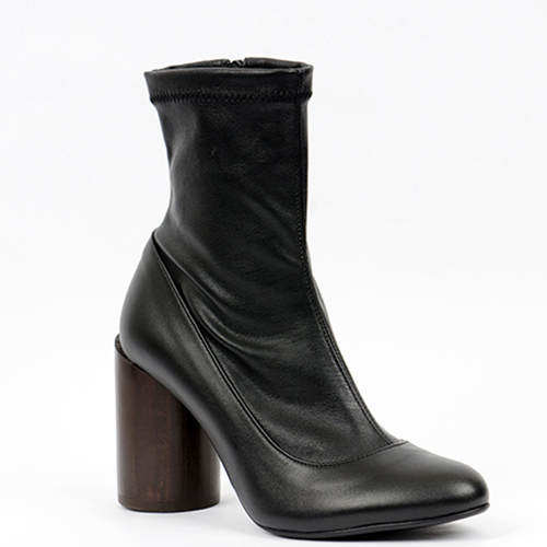 CHUNKY HEEL STRECH LEATHER ANKLE BOOTS 9